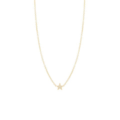 14k itty bitty pave diamond star necklace