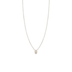 Zoë Chicco 14kt White Gold White Diamond Itty Bitty Hamsa Necklace