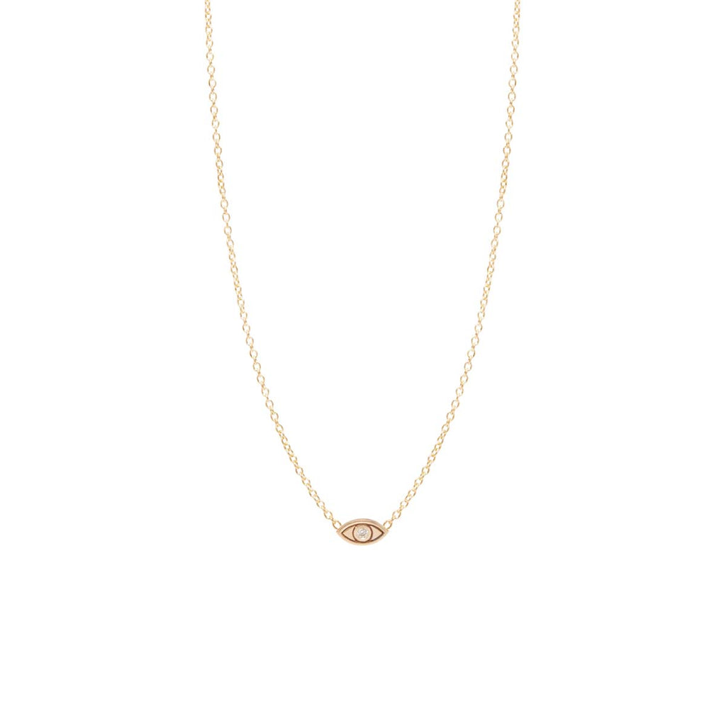 Zoë Chicco 14kt Yellow Gold White Diamond Itty Bitty Evil Eye Necklace