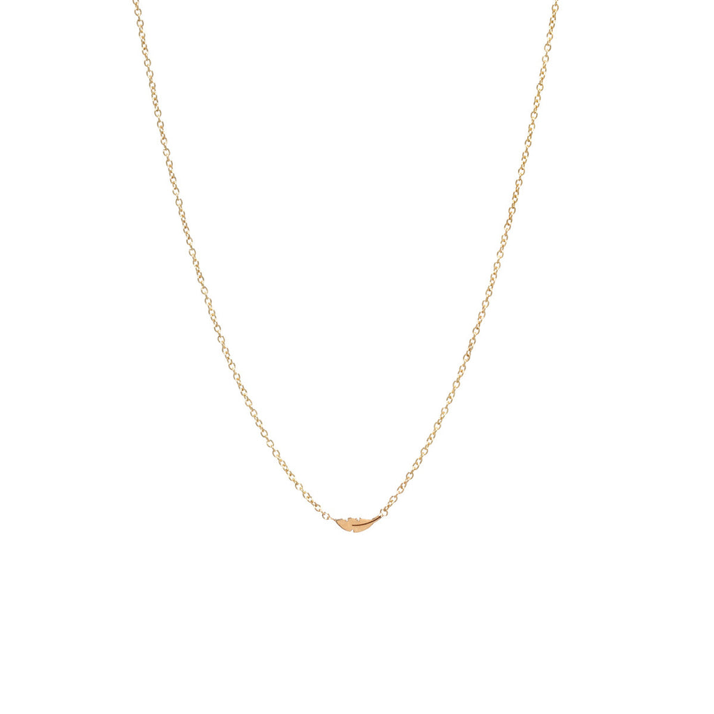 Zoë Chicco 14kt Yellow Gold Itty Bitty Feather Necklace