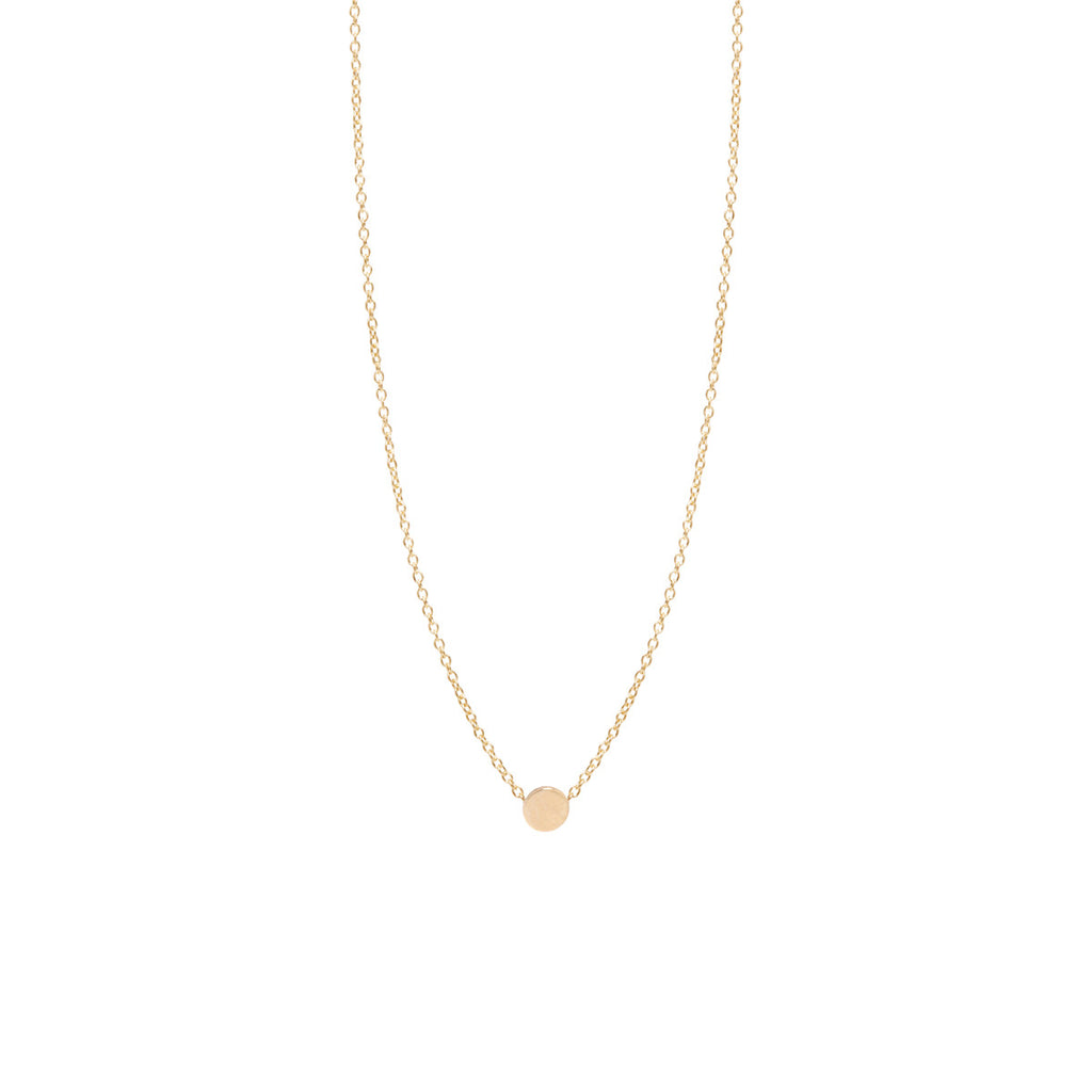 14k itty bitty disc necklace