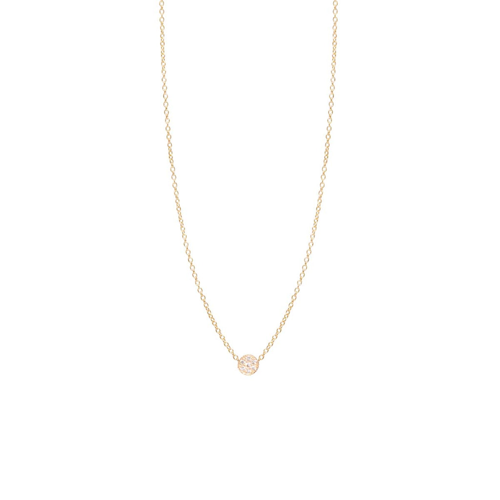 14k itty bitty pave diamond disc necklace