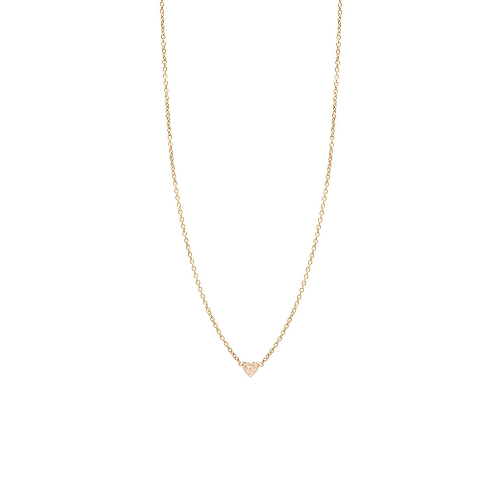 Zoë Chicco 14kt Yellow Gold Itty Bitty Pave Heart Necklace