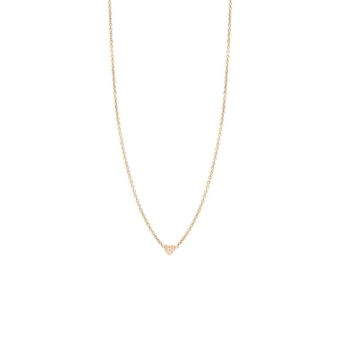 14k itty bitty pave heart necklace