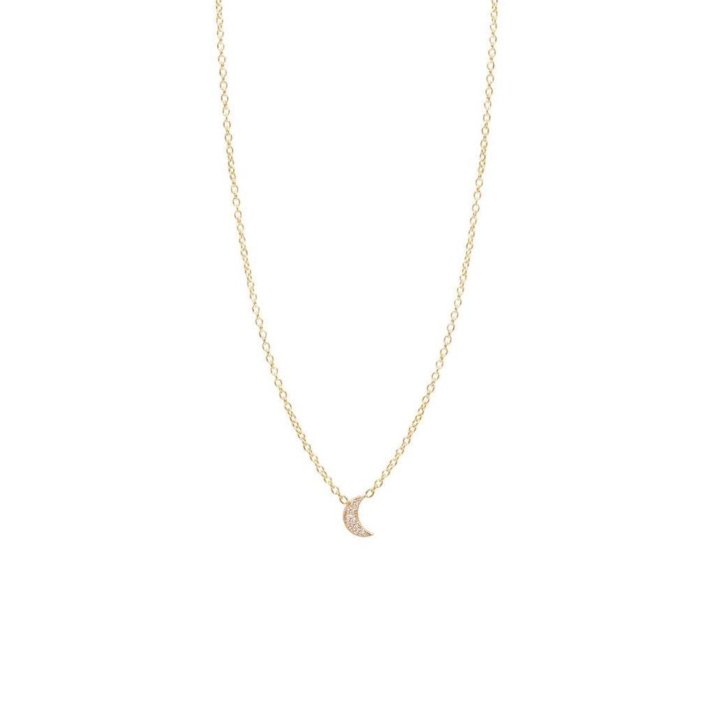 Zoë Chicco 14kt Yellow Gold Itty Bitty Pave Diamond Crescent Moon Necklace