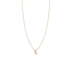 Zoë Chicco 14kt Rose Gold Itty Bitty Pave Diamond Crescent Moon Necklace