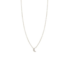 Zoë Chicco 14kt White Gold Itty Bitty Pave Diamond Crescent Moon Necklace