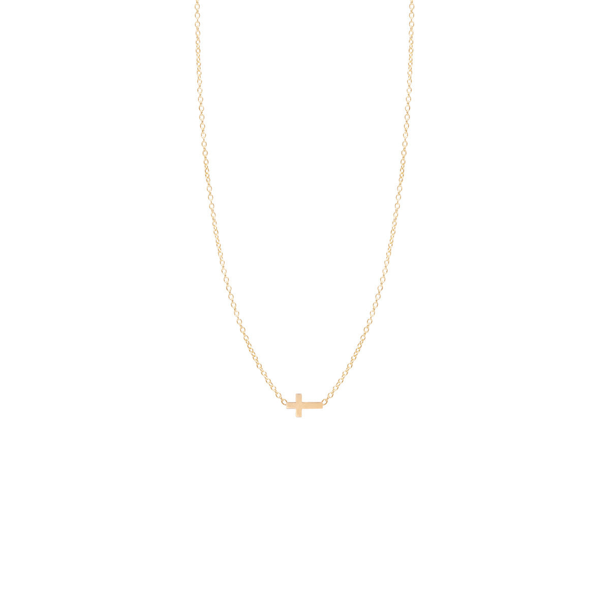 Zoë Chicco 14kt Yellow Gold Itty Bitty Cross Necklace