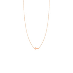 Zoë Chicco 14kt Rose Gold Itty Bitty Cross Necklace