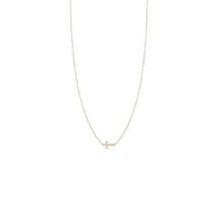 Zoë Chicco 14kt White Gold Itty Bitty Cross Necklace