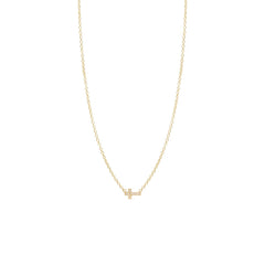 14k pave diamond itty bitty cross necklace