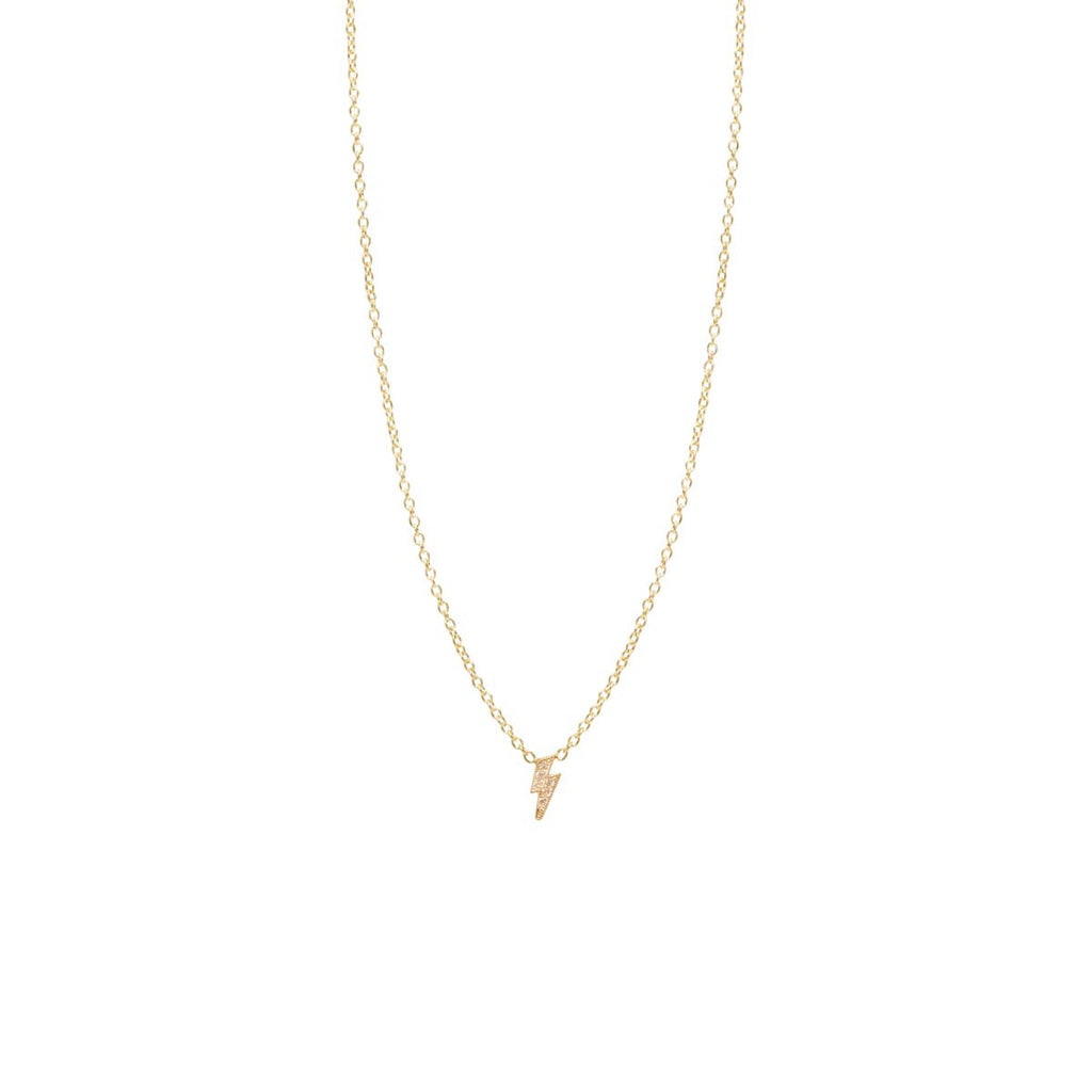 Zoë Chicco 14kt Yellow Gold Itty Bitty Pave Diamond Lightning Bolt Necklace