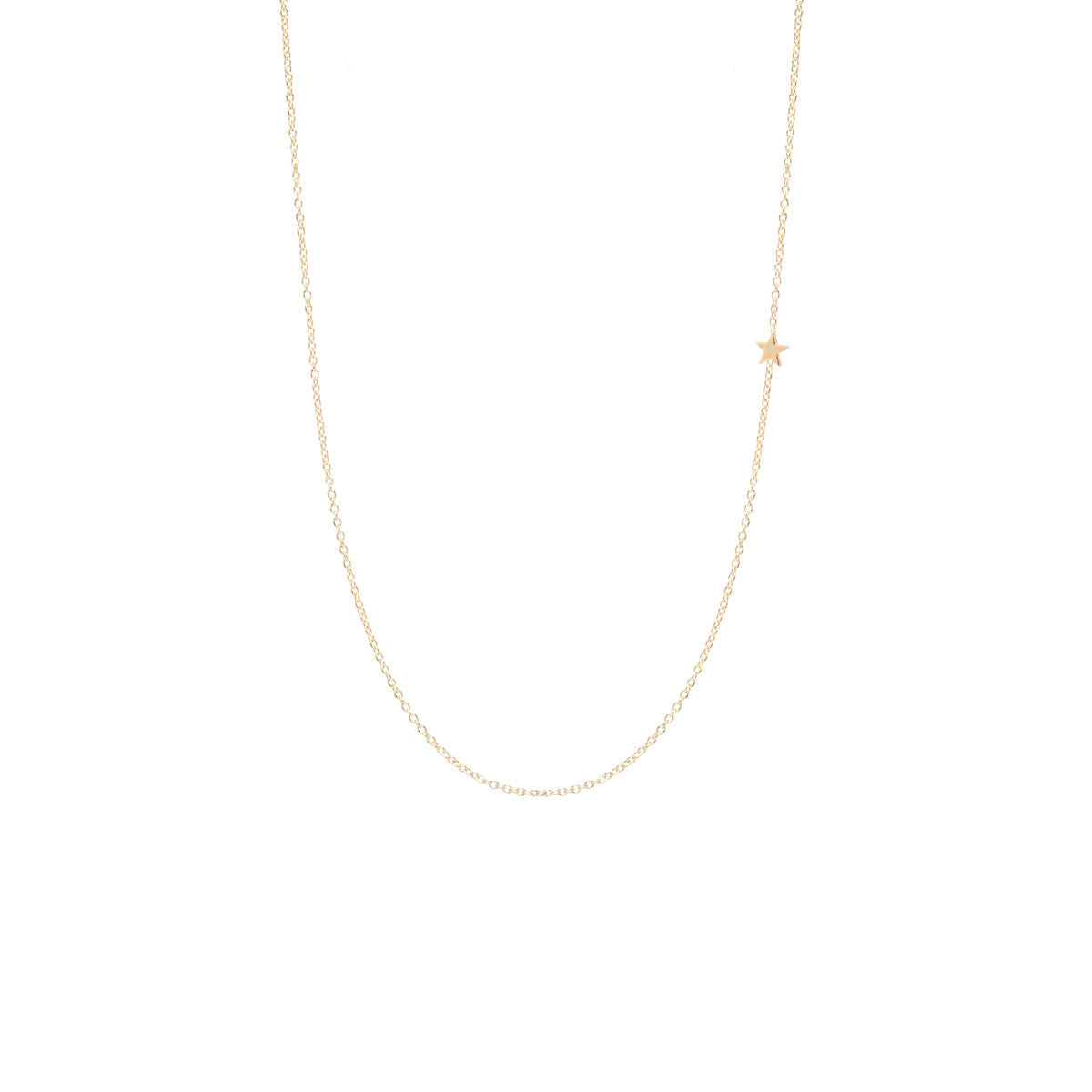 Zoë Chicco 14kt Yellow Gold Itty Bitty Off-Center Star Necklace