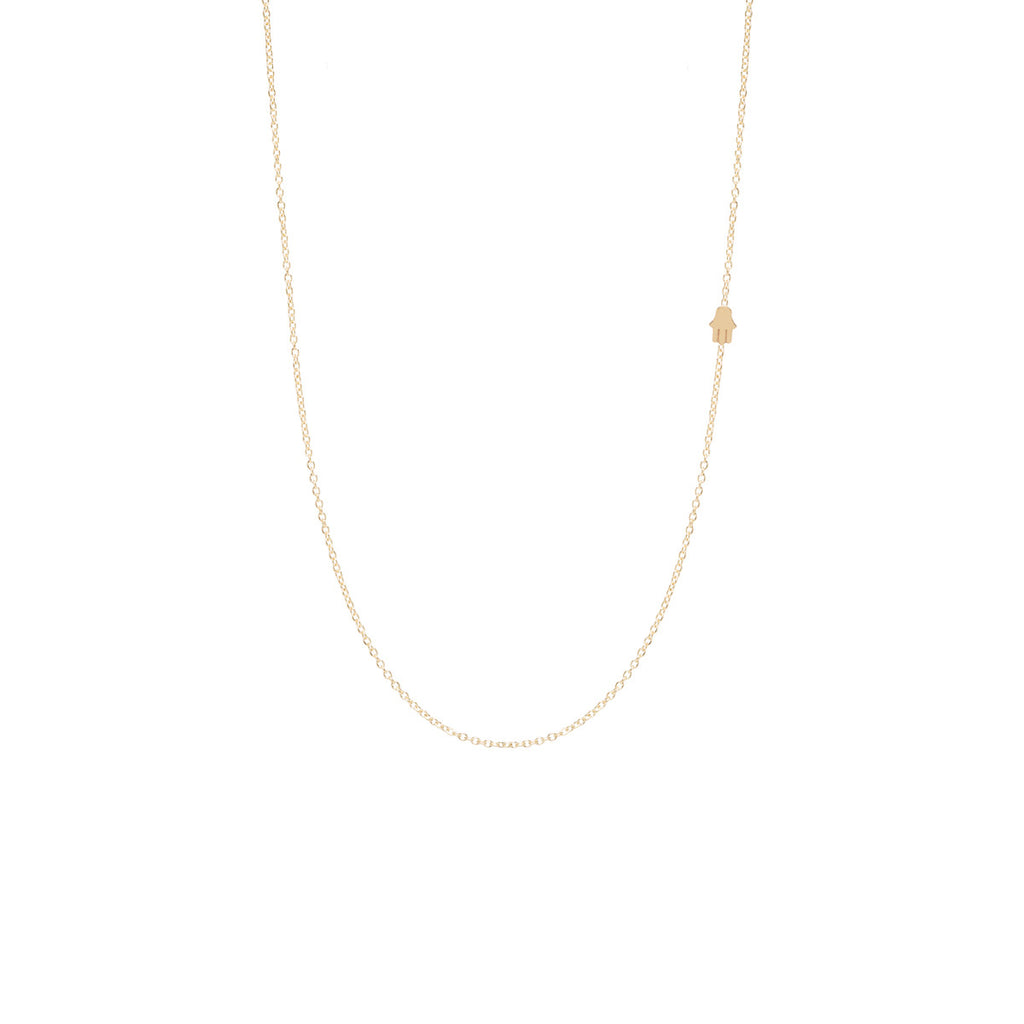 Zoë Chicco 14kt Yellow Gold Itty Bitty Off-Center Hamsa Necklace
