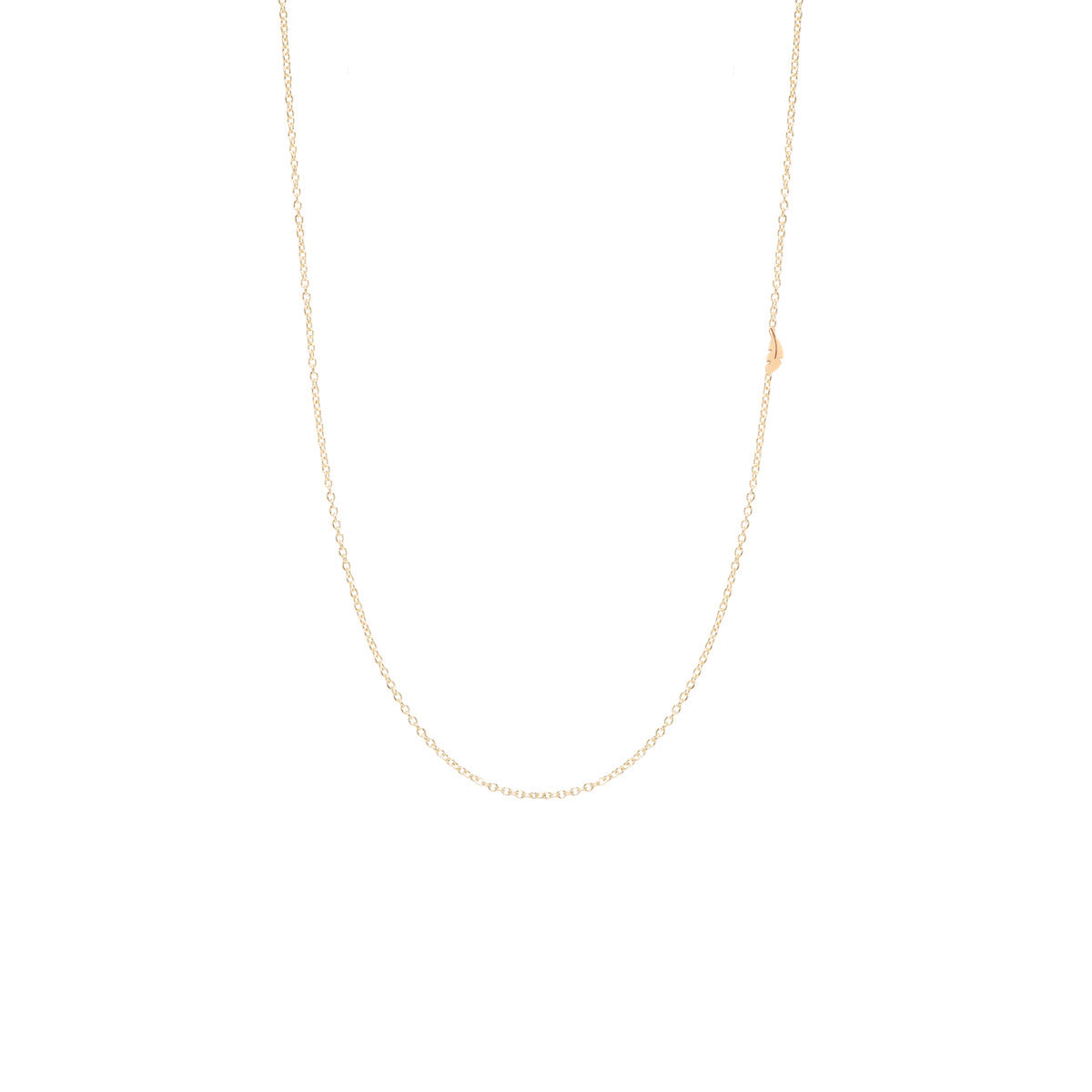 14k itty bitty off-center feather necklace