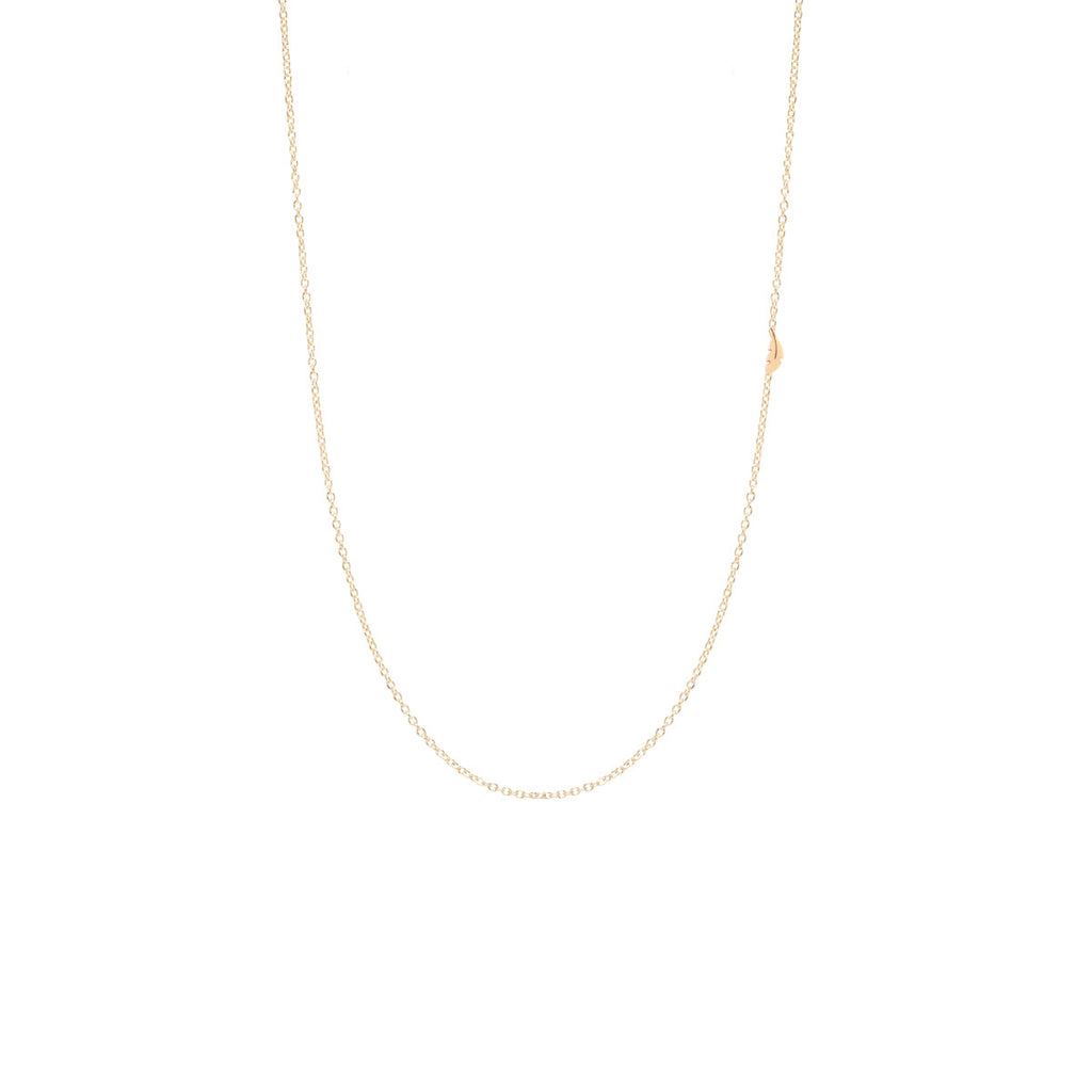 Zoë Chicco 14kt Yellow Gold Itty Bitty Off-Center Feather Necklace
