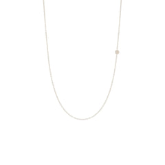 Zoë Chicco 14kt White Gold Itty Bitty Off-Center Disc Necklace
