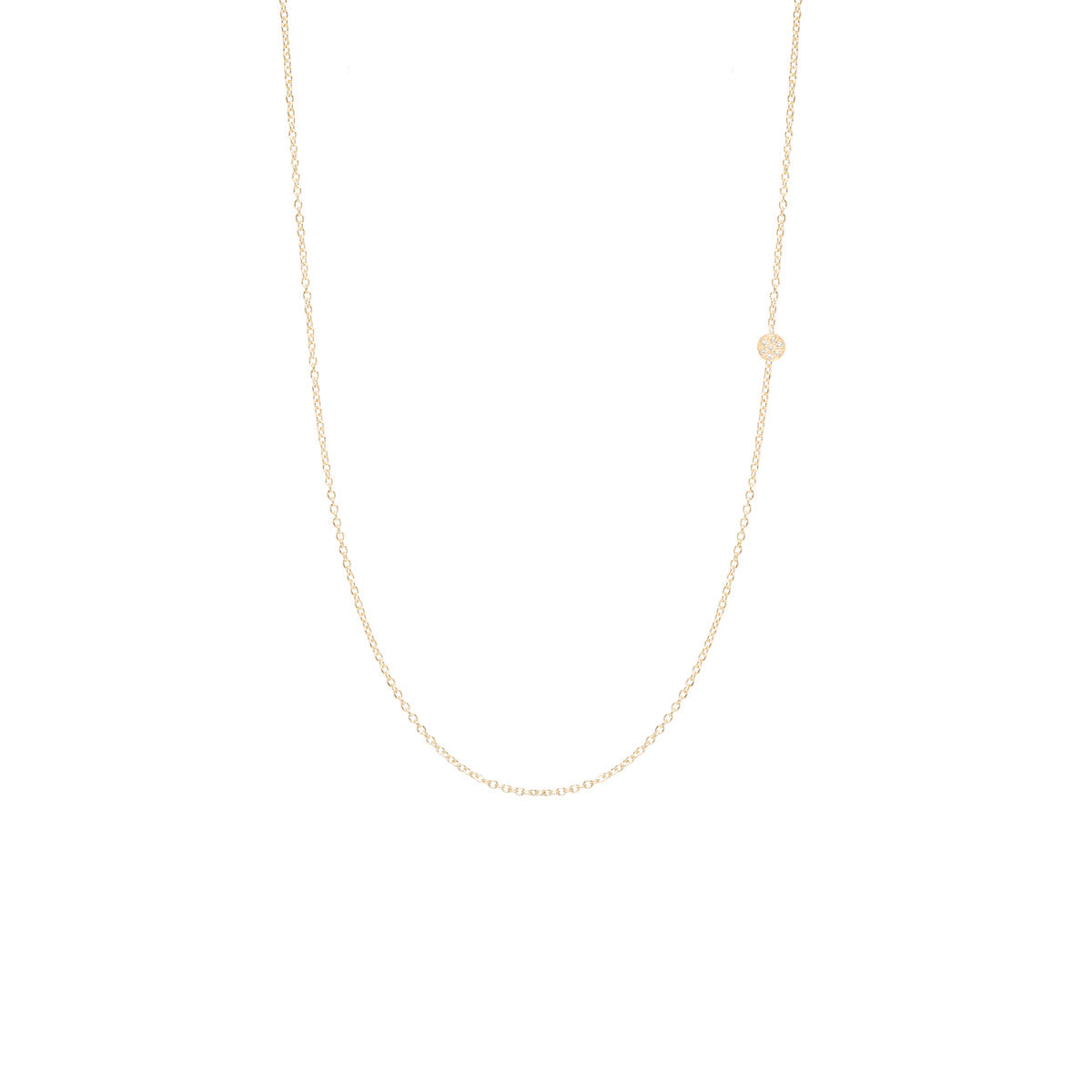 Zoë Chicco 14kt Yellow Gold Itty Bitty Off-Center Pave Disc Necklace