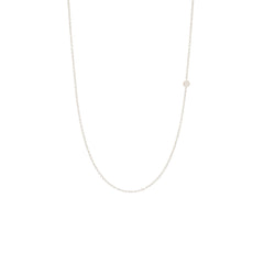 Zoë Chicco 14kt White Gold Itty Bitty Off-Center Pave Disc Necklace