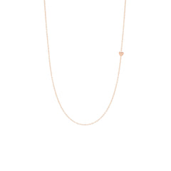 Zoë Chicco 14kt Rose Gold Itty Bitty Off-Center Heart Necklace