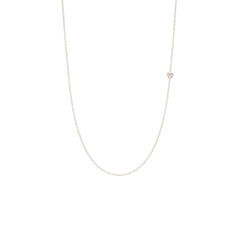 Zoë Chicco 14kt White Gold Itty Bitty Off-Center Heart Necklace