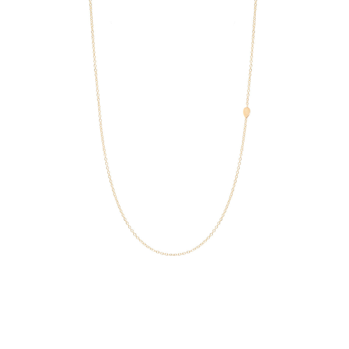 Zoë Chicco 14kt Yellow Gold Itty Bitty Off-Center Teardrop Necklace