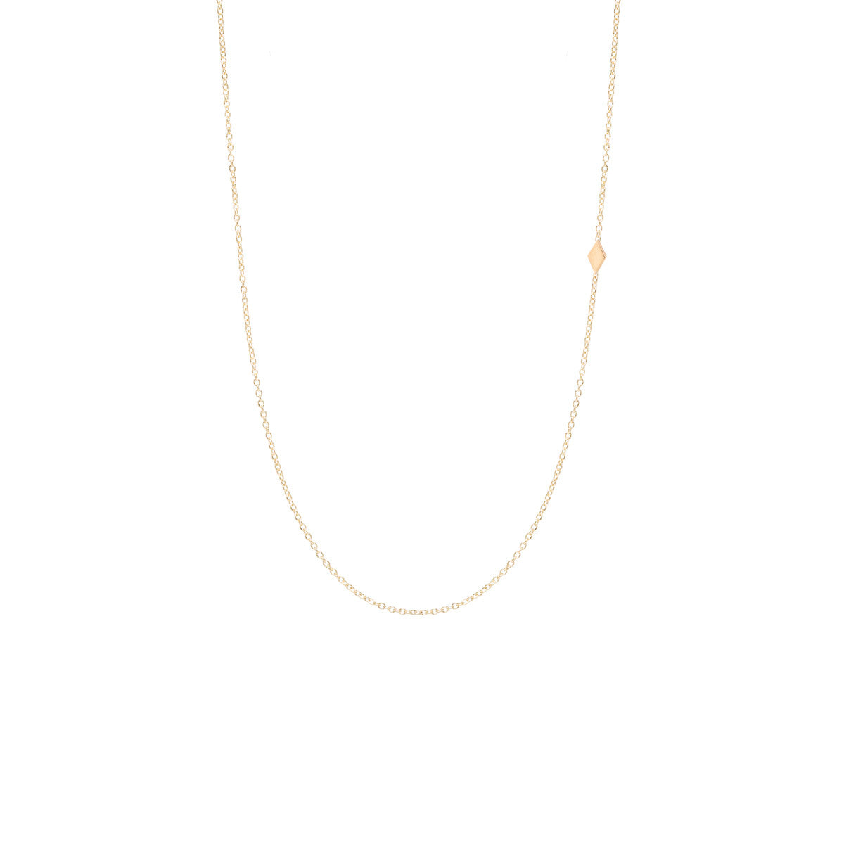 Zoë Chicco 14kt Yellow Gold Itty Bitty Off-Center Diamond Shape Necklace