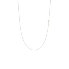 Zoë Chicco 14kt White Gold Itty Bitty Off-Center Diamond Shape Necklace