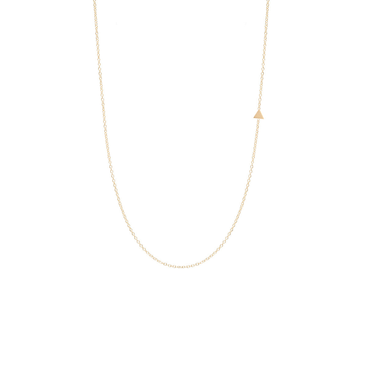 14k itty bitty off-center triangle necklace