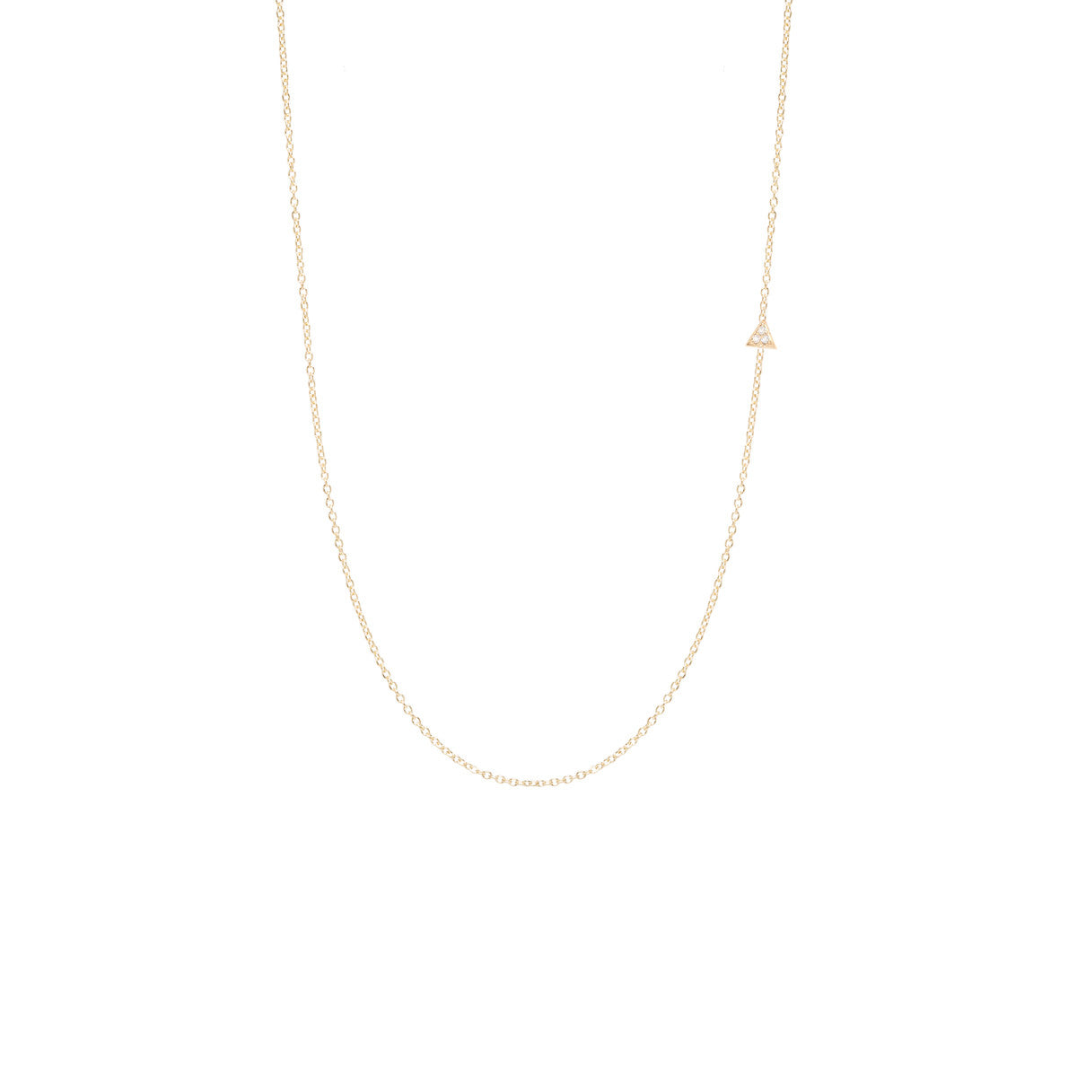 Zoë Chicco 14kt Yellow Gold Itty Bitty Off-Center Pave Triangle Necklace