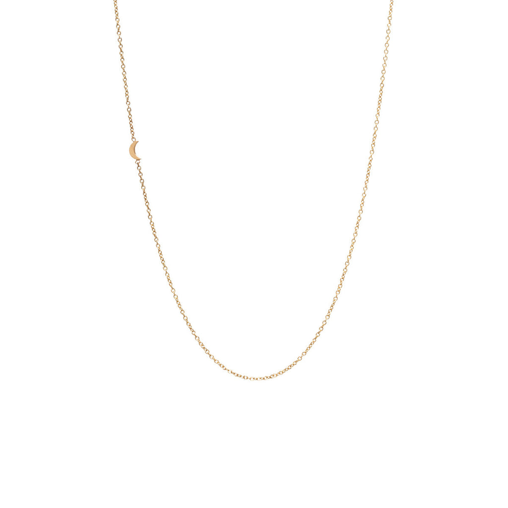 14k itty bitty off-center crescent moon necklace