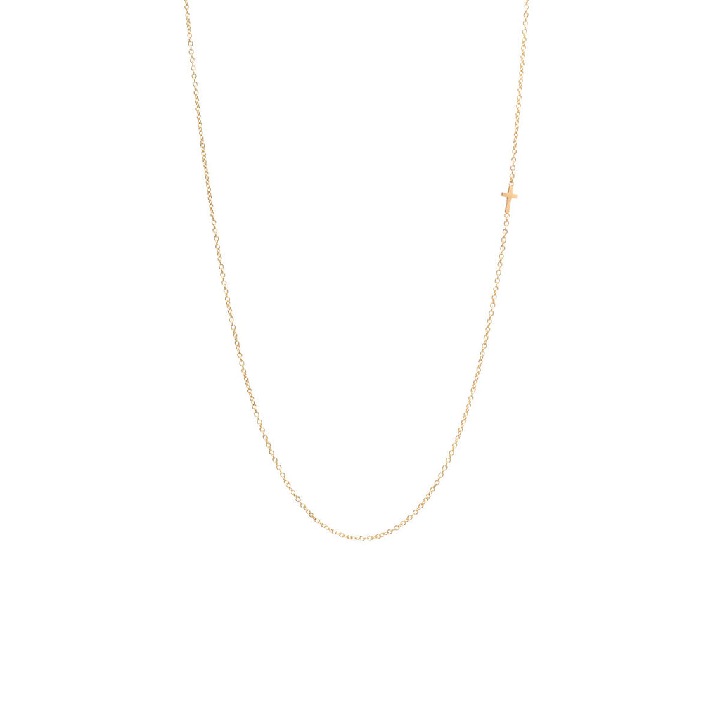 Zoë Chicco 14kt Yellow Gold Itty Bitty Off-Center Cross Necklace