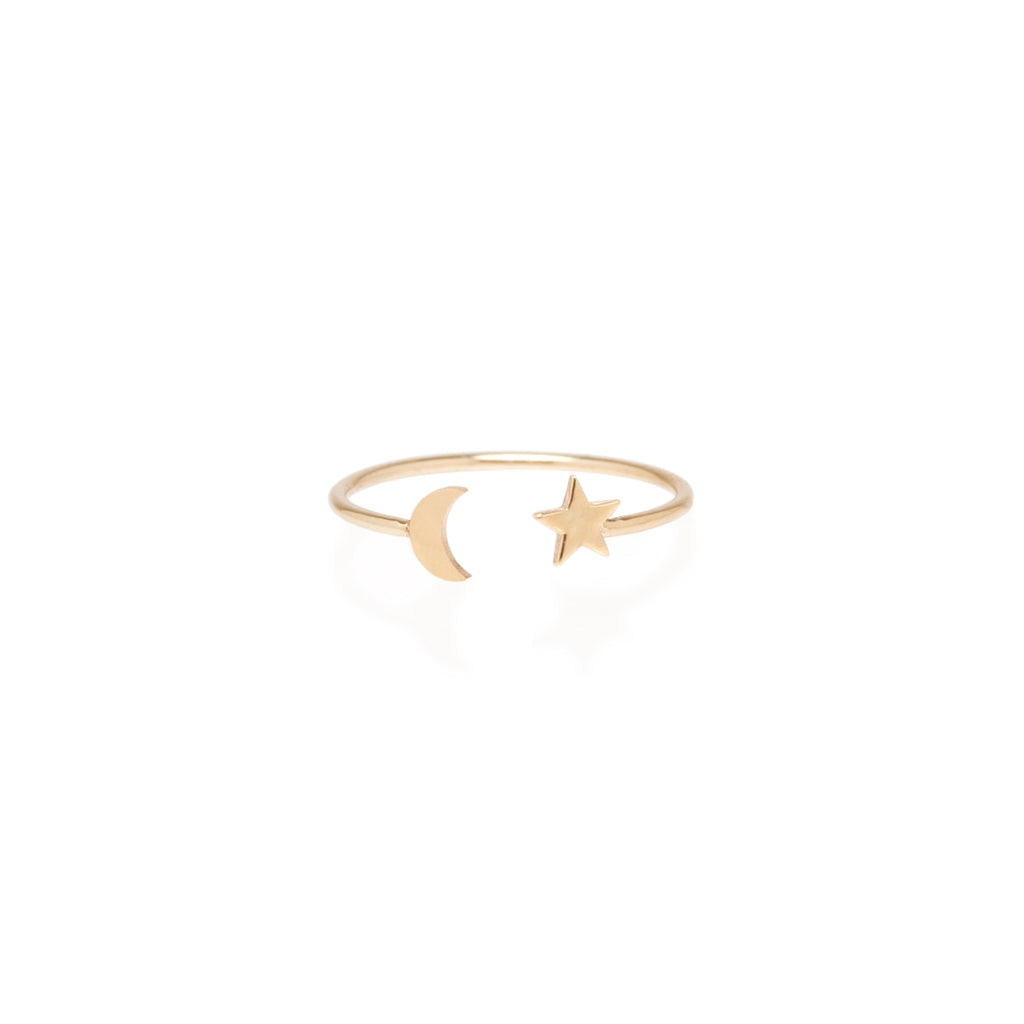 14k itty bitty moon and star open ring