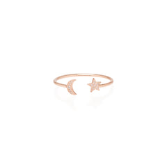 14k pave diamond itty bitty moon and star open ring