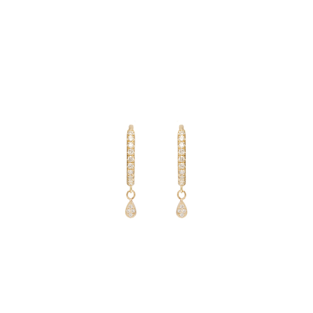 14k itty bitty dangling teardrop pave diamond medium hinge huggie hoops