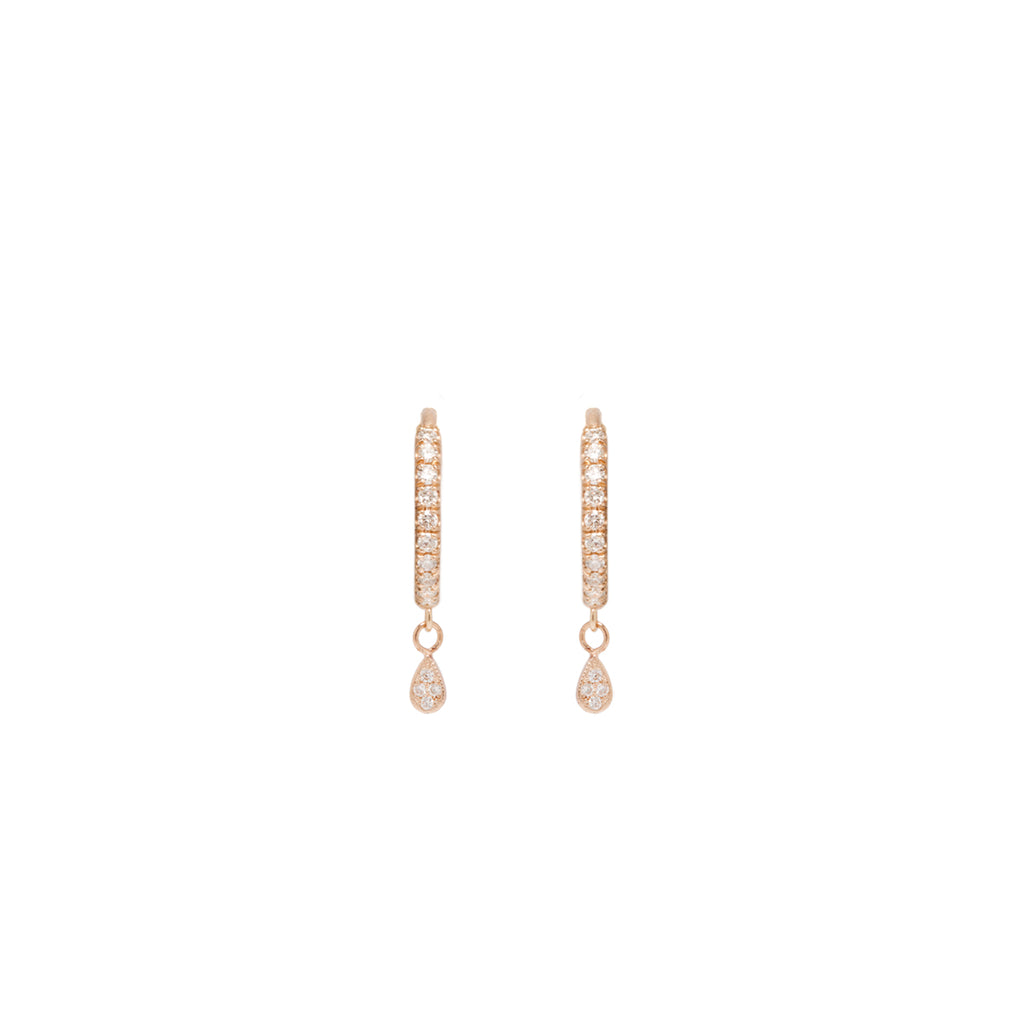 14k itty bitty dangling teardrop pave diamond huggie hoop