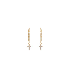 14k itty bitty dangling cross pave diamond medium hinge huggie hoops