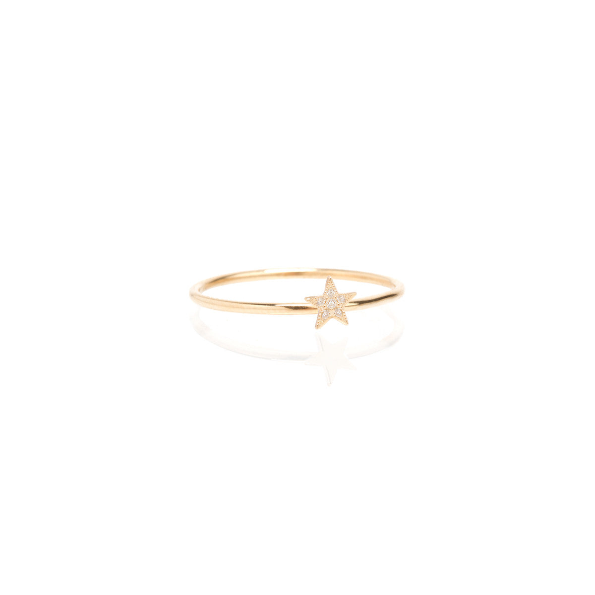 Zoë Chicco 14kt Yellow Gold Itty Bitty Pave Star Ring