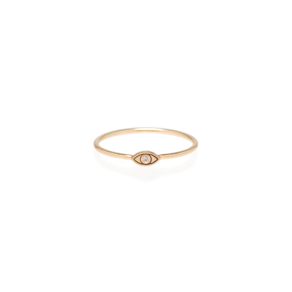 Zoë Chicco 14kt Yellow Gold White Diamond Itty Bitty Evil Eye Ring