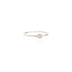 14k itty bitty pave disc ring