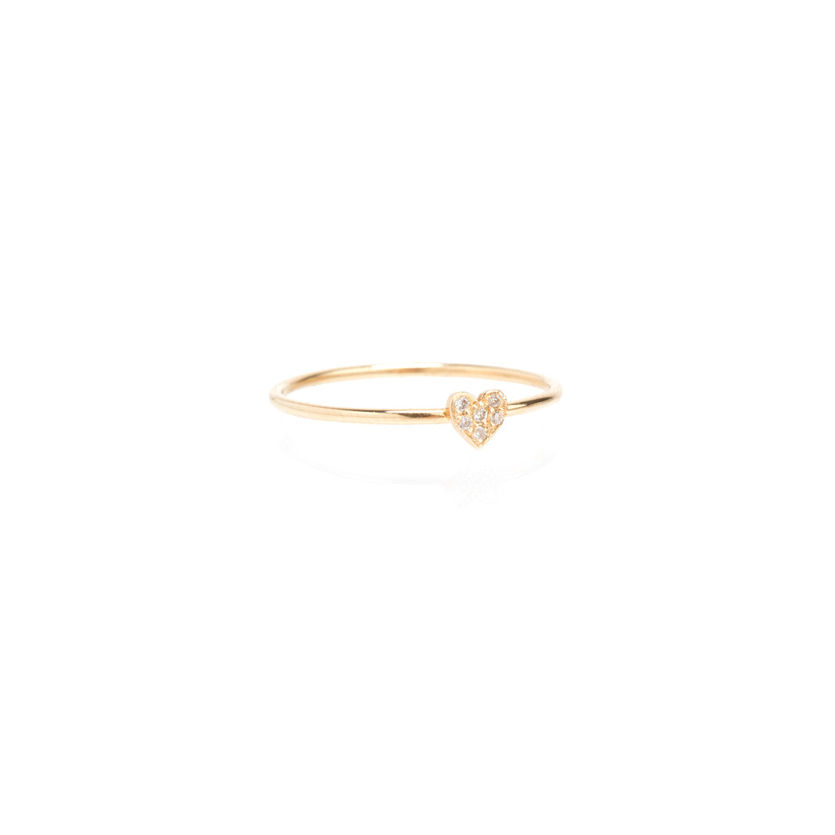 14k itty bitty pave heart ring