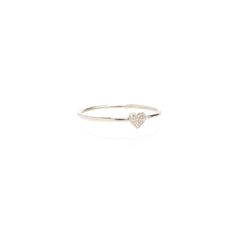 Zoë Chicco 14kt White Gold Itty Bitty Pave Heart Ring