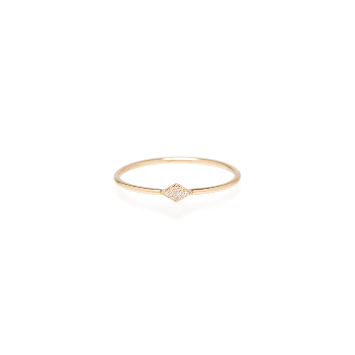 Zoë Chicco 14kt Yellow Gold Itty Bitty Pave Diamond Shape Ring