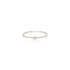 Zoë Chicco 14kt White Gold Itty Bitty Pave Diamond Shape Ring