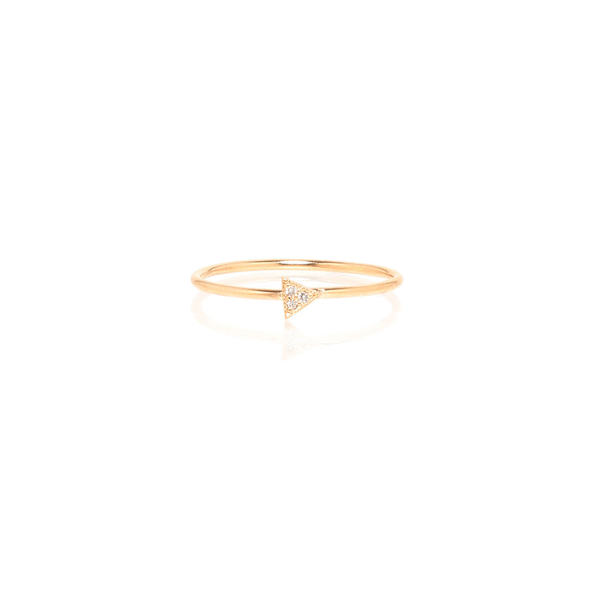 Zoë Chicco 14kt Yellow Gold Itty Bitty Pave Triangle Ring