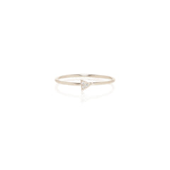 14k itty bitty pave triangle ring