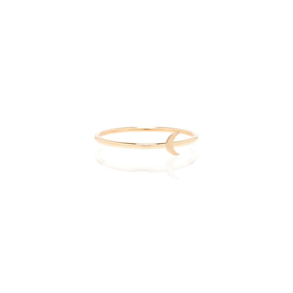 Zoë Chicco 14kt Yellow Gold Itty Bitty Crescent Moon Ring