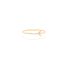 14k itty bitty crescent moon ring