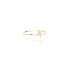 Zoë Chicco 14kt Yellow Gold Itty Bitty Cross Ring