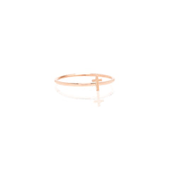 Zoë Chicco 14kt Rose Gold Itty Bitty Cross Ring